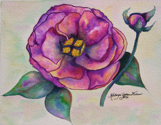 """Camellia"" by Kathryn Graham Wilson, watercolor"