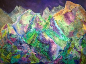 """Canadian Rockies"", Mixed Media by Rebecca Katz"
