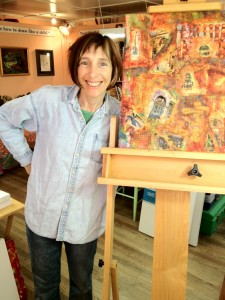 "Rebecca Katz Beaming with Joy Over Her Completed Piece ""Rome Wasn't Built in a Day""."